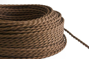 Brown Twisted Fabric Cord by the Foot Hangout Lighting