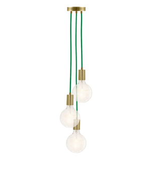 Cluster Chandelier - Staggered: Green and Brass Hangout Lighting 3 Staggered