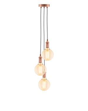 Cluster Chandelier - Staggered: Grey and Copper Hangout Lighting 3 Staggered