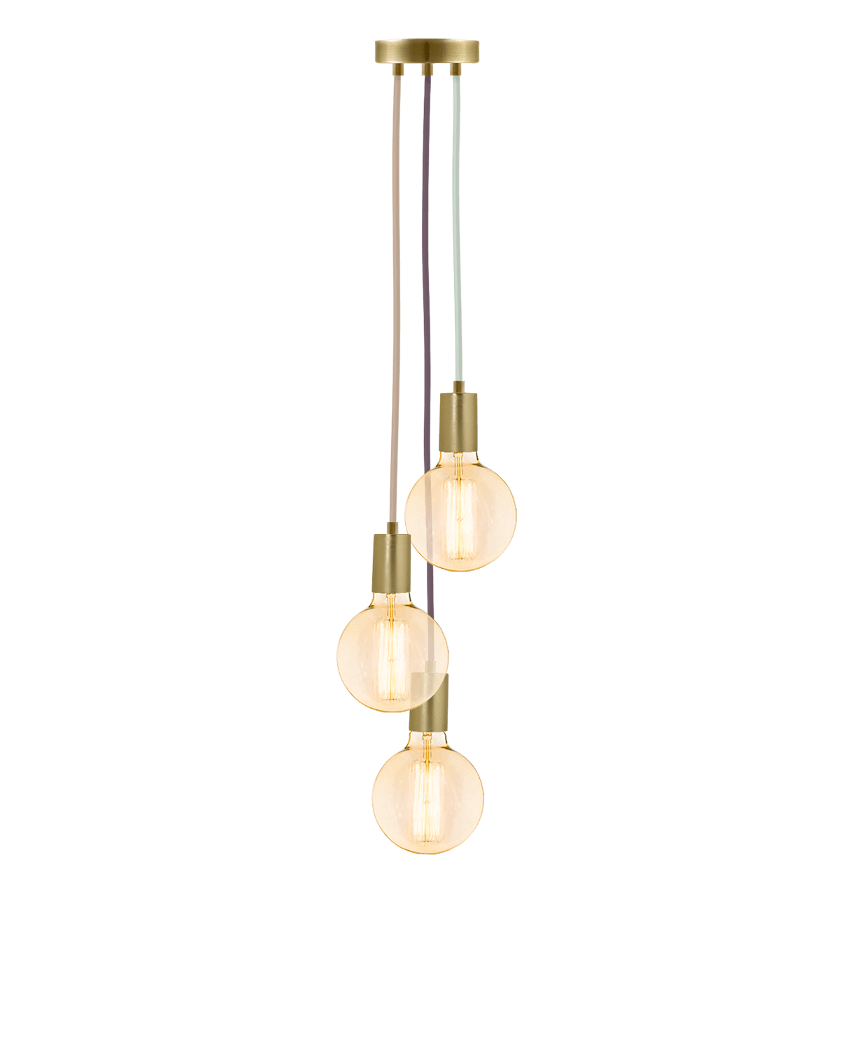 Cluster Chandelier - Staggered: Light Victorian and Brass Hangout Lighting 3 Staggered