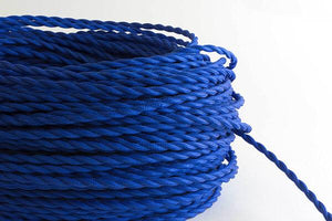 Cobalt Twisted Fabric Cord by the Foot Hangout Lighting