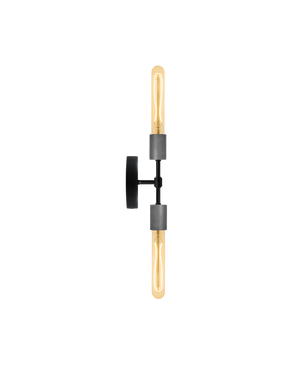 Double Wall Sconce: Black and Steel Hangout Lighting