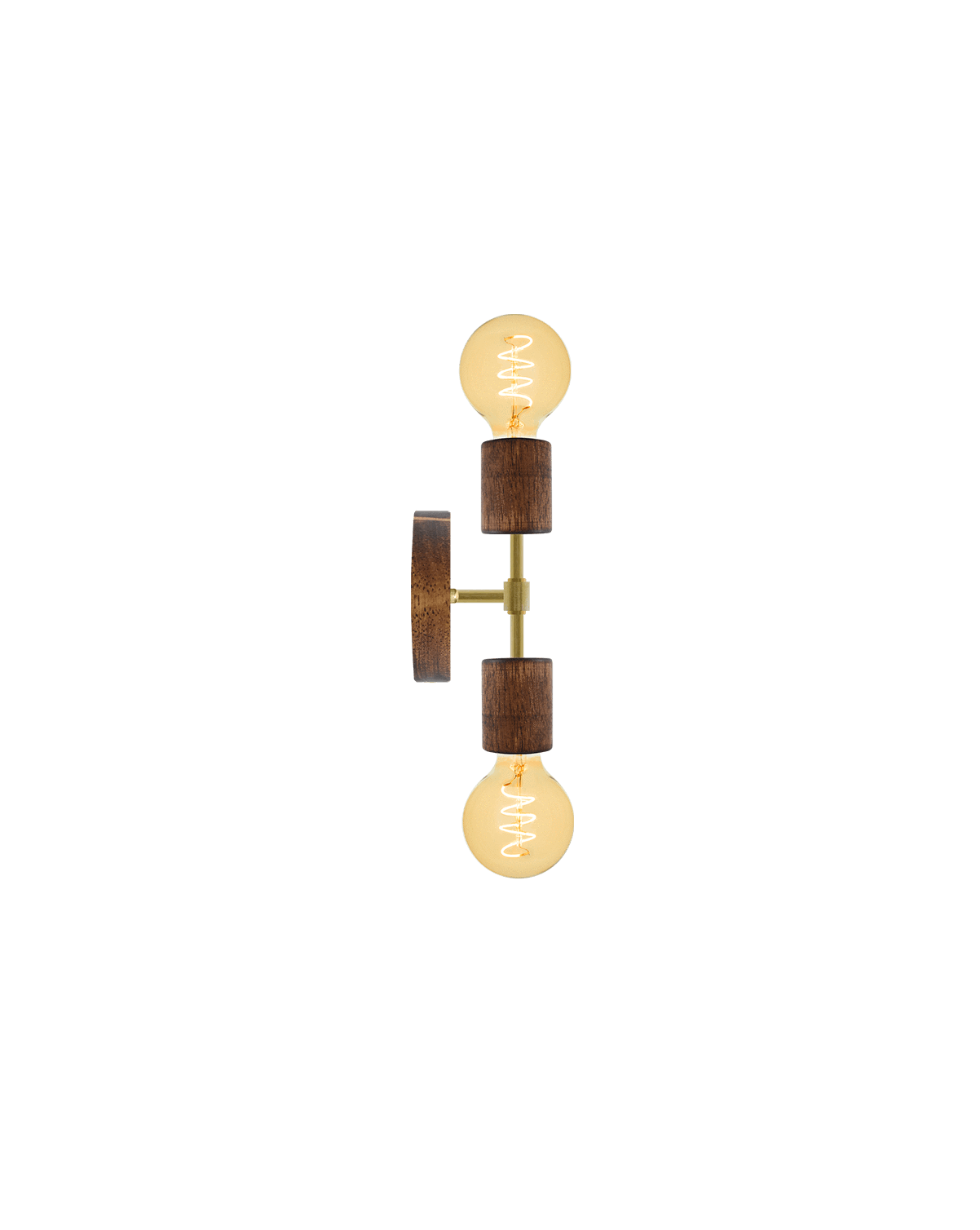 Double Wall Sconce: Walnut and Brass Hangout Lighting