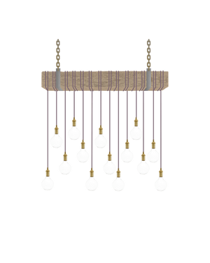 Faux Beam 14 Pendant Wrap: Mauve with Brass Hangout Lighting 4' Beam