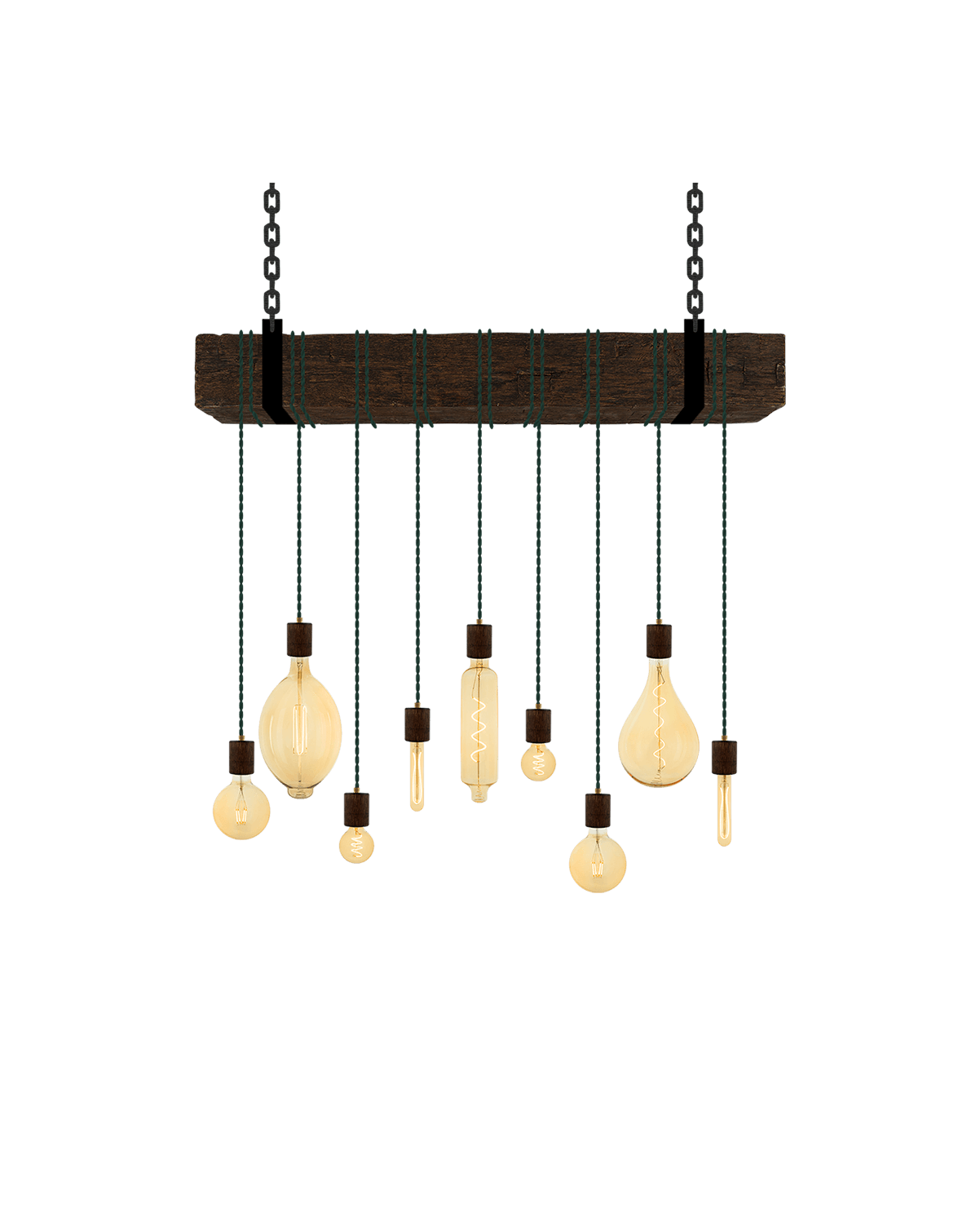 Faux Beam 9 Pendant Wrap: Ebony and Pine Hangout Lighting 4' Beam