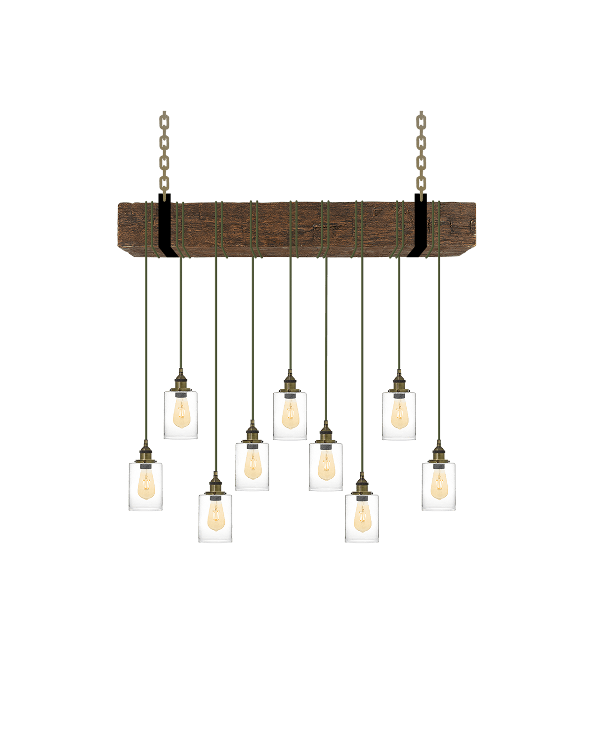Faux Beam 9 Pendant Wrap: Olive and Glass Shades Hangout Lighting 4' Beam