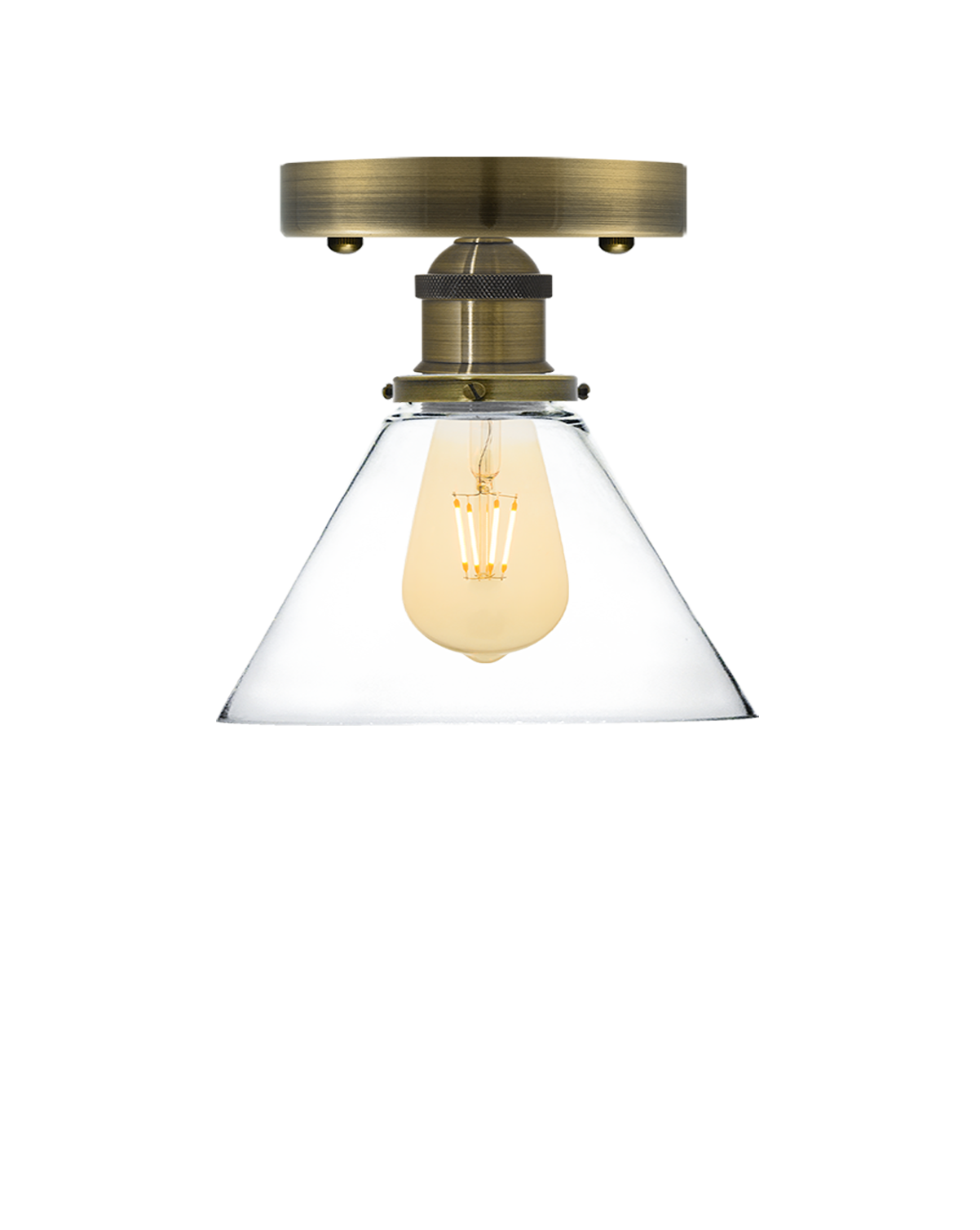 Flush Mount: Antique Brass Glass Cone Hangout Lighting