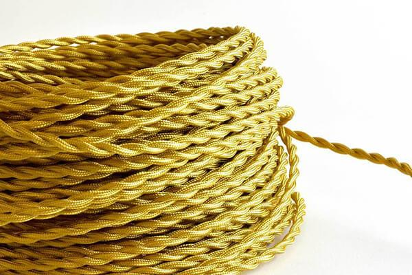 Gold Twisted Fabric Cord by the Foot Hangout Lighting