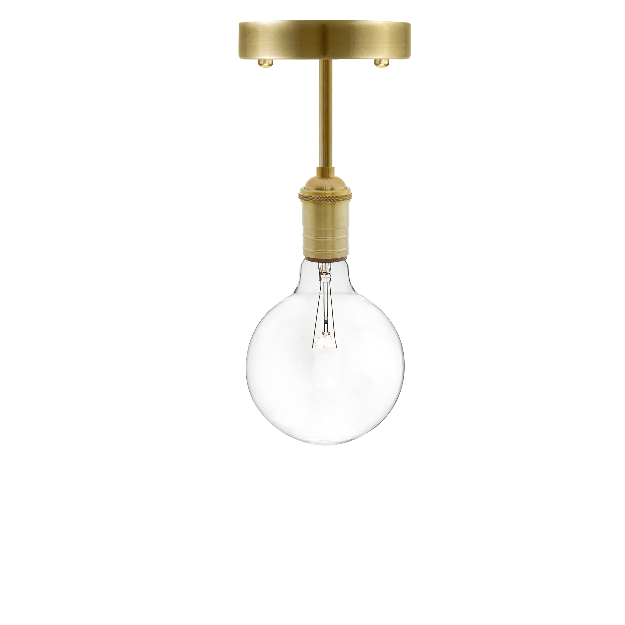 Long Flush Mount: Brass Clear Globe