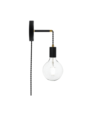 Plug-in Adjustable Wall Sconce: Black and Brass Hangout Lighting