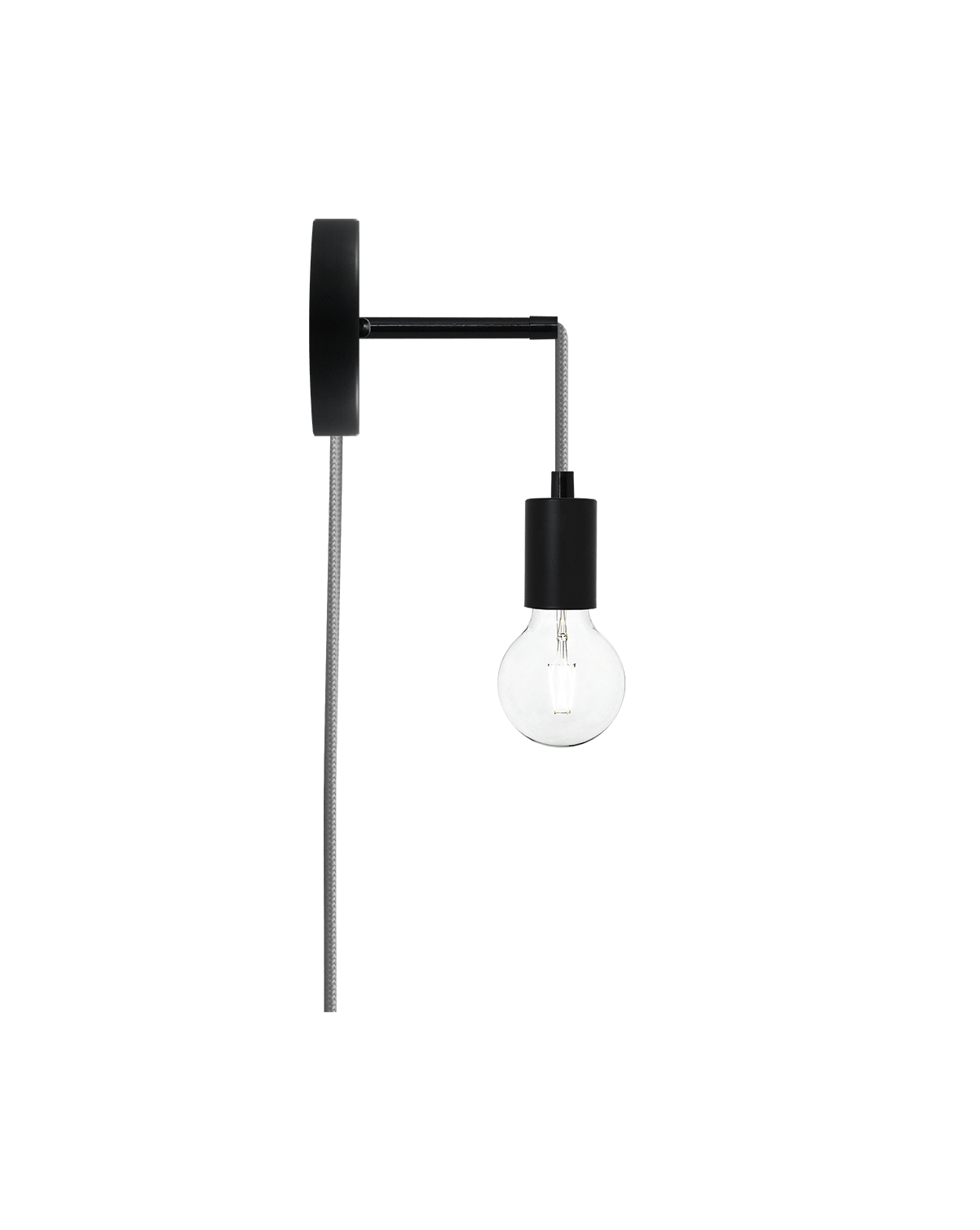 Plug-in Adjustable Wall Sconce: Black and Grey Hangout Lighting