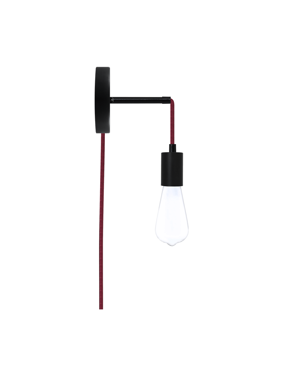 Plug-in Adjustable Wall Sconce: Black and Wine Hangout Lighting