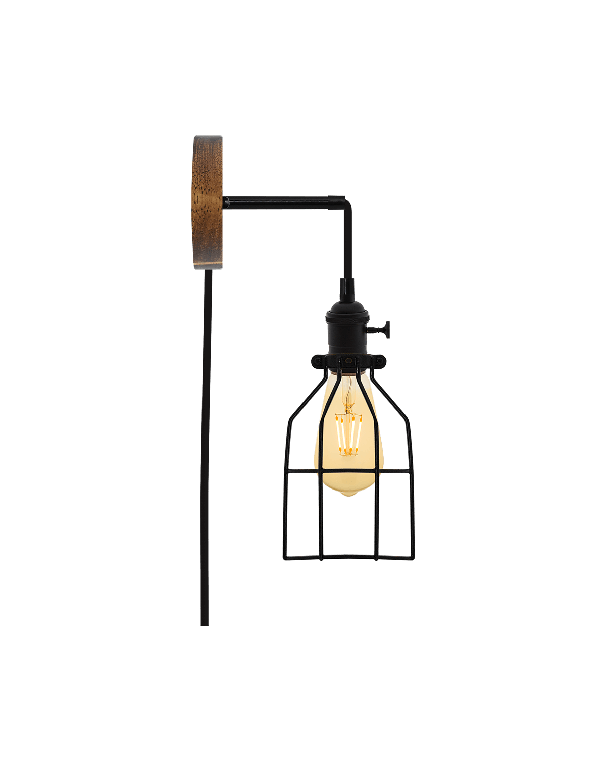 Plug-in Adjustable Wall Sconce: Walnut and Black Hangout Lighting