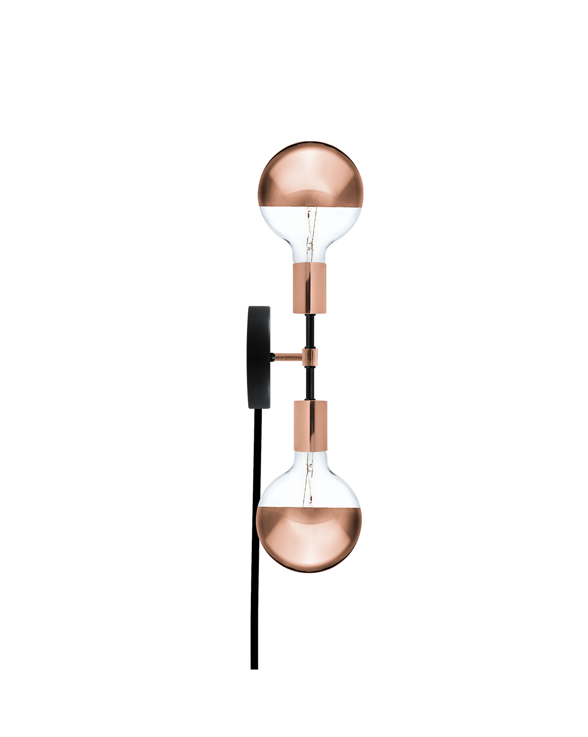Plug-In Double Wall Sconce: Black and Copper Hangout Lighting