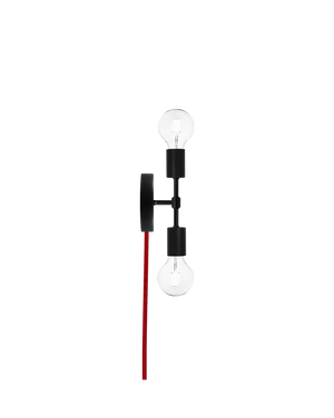 Plug-In Double Wall Sconce: Black and Red Hangout Lighting
