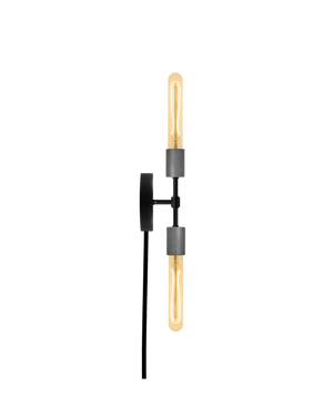 Plug-In Double Wall Sconce: Black and Steel Hangout Lighting