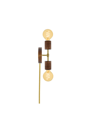 Plug-In Double Wall Sconce: Walnut and Brass Hangout Lighting