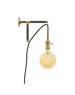 Plug-in L-Bracket Wall Sconce: Black and Brass Hangout Lighting