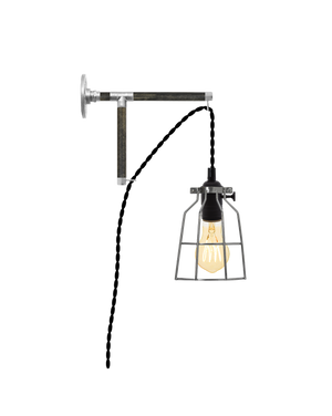 Plug-in L-Bracket Wall Sconce: Black and Steel Hangout Lighting