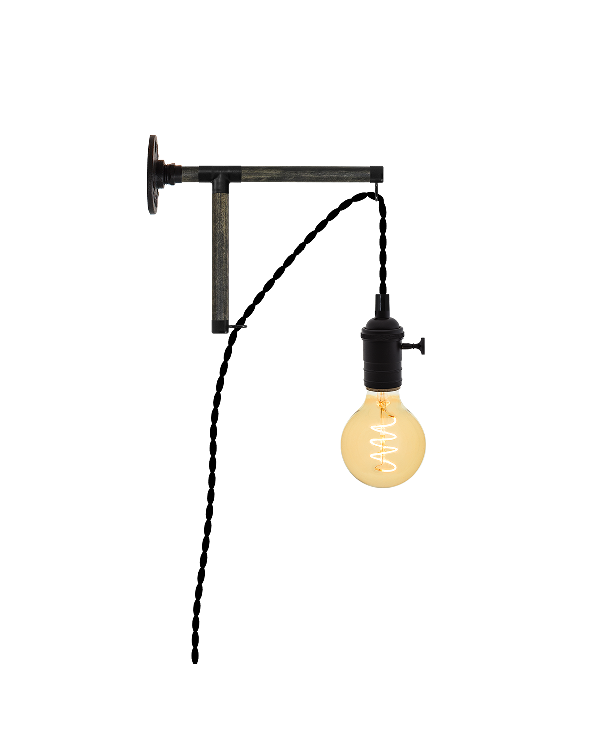 Plug-in L-Bracket Wall Sconce: Black Hangout Lighting