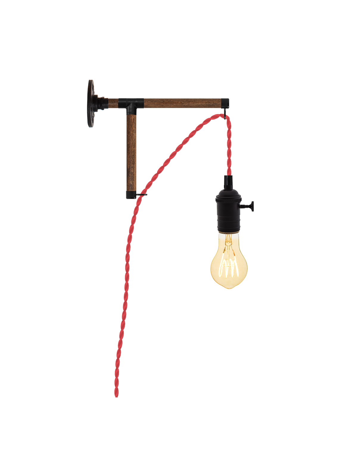 Plug-in L-Bracket Wall Sconce: Red and Walnut Hangout Lighting