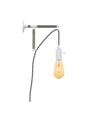 Plug-in L-Bracket Wall Sconce: White and Mauve Hangout Lighting