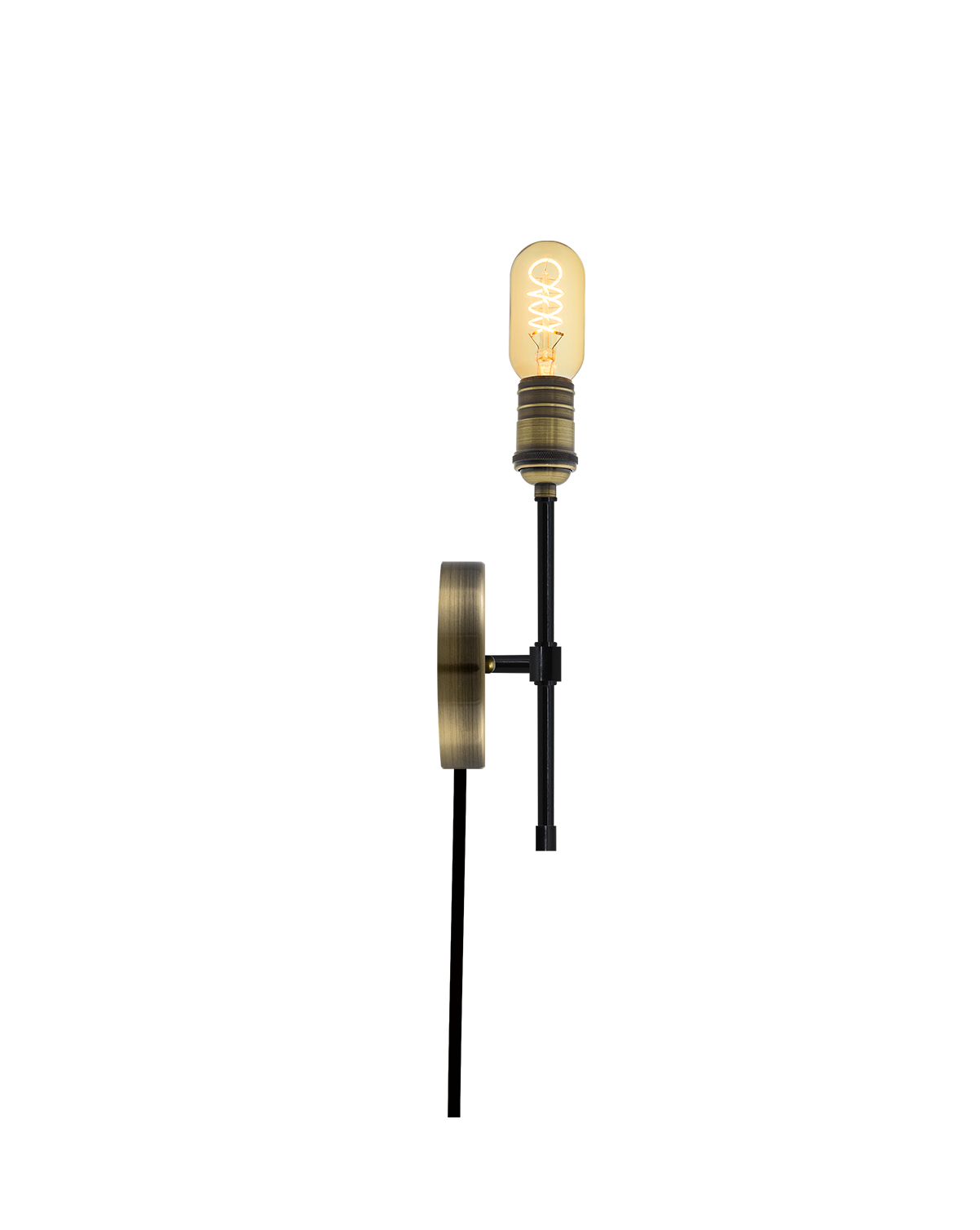 Plug-In Torch Wall Sconce: Black and Antique Brass Hangout Lighting