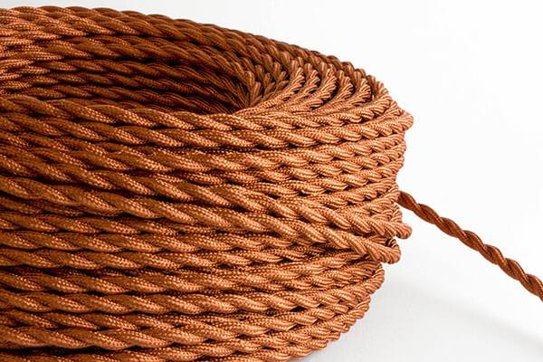Rust Twisted Fabric Cord by the Foot Hangout Lighting