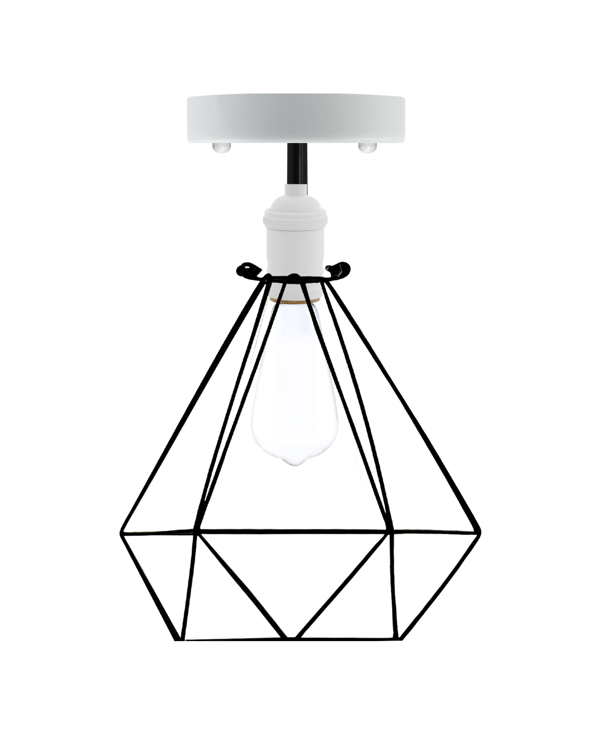 Semi Flush Mount: White with Black Diamond Cage Hangout Lighting