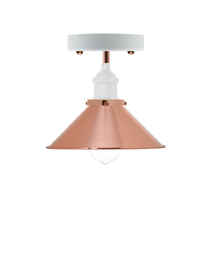 Semi Flush Mount: White with Copper Cone Shade Hangout Lighting