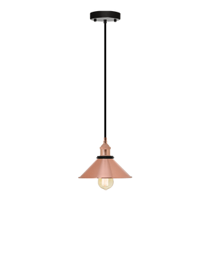 Single Pendant: Black and Copper Cone Shade Hangout Lighting