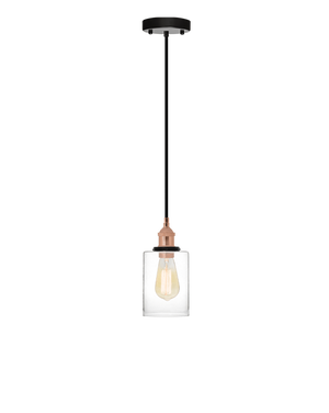 Single Pendant: Black and Glass Cylinder Shade Hangout Lighting