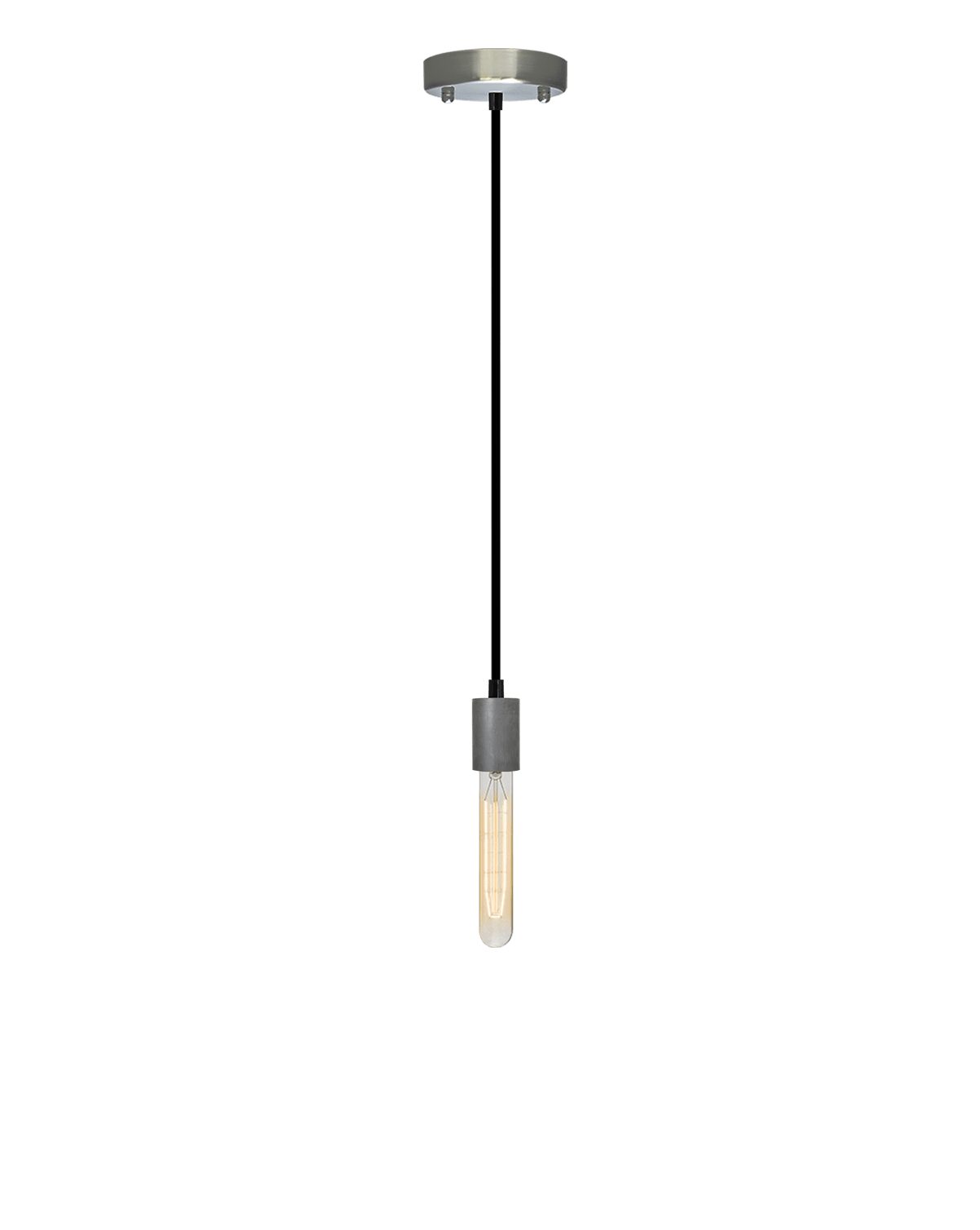 Single Pendant: Black and Steel Hangout Lighting