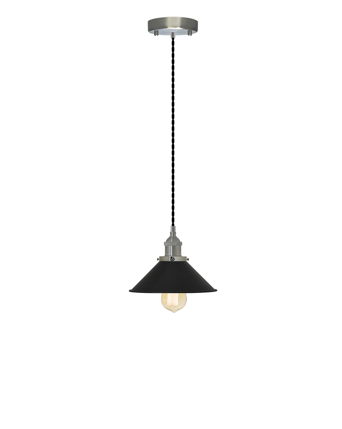 Single Pendant: Black Twisted and Black Cone Shade Hangout Lighting