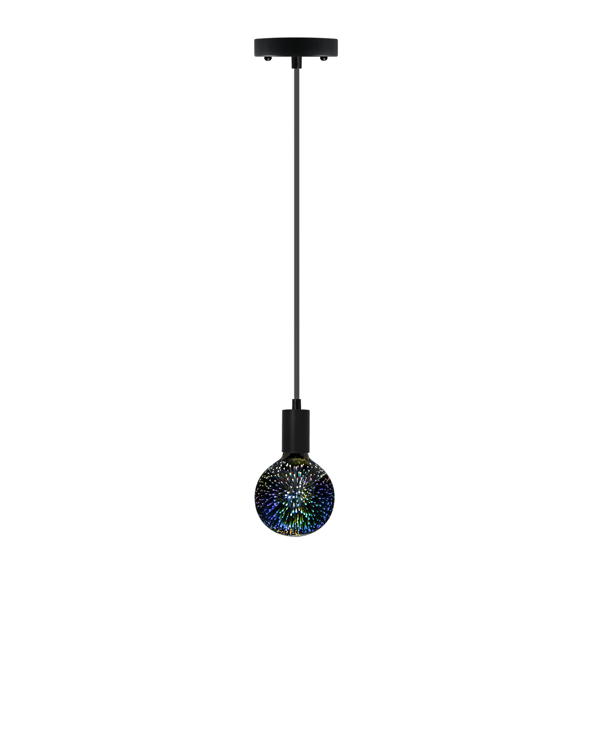 Single Pendant: Black with Firework Bulb Hangout Lighting