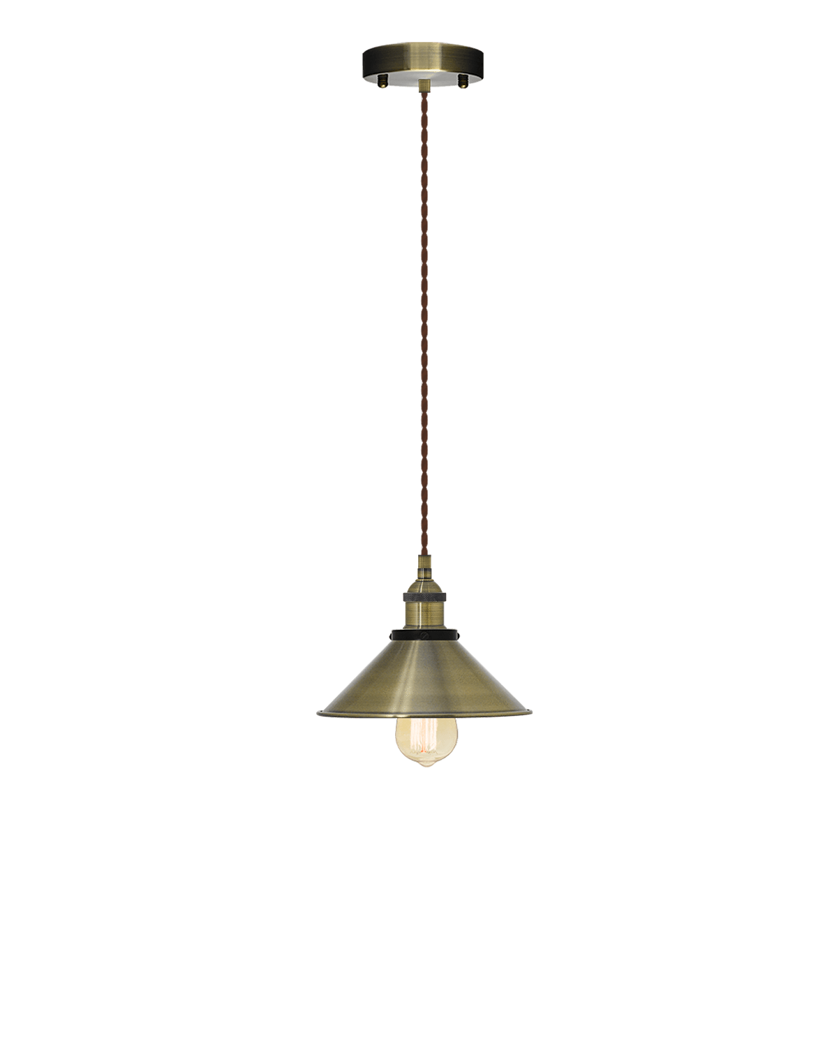 Single Pendant: Brown Twisted and Antique Shade Hangout Lighting