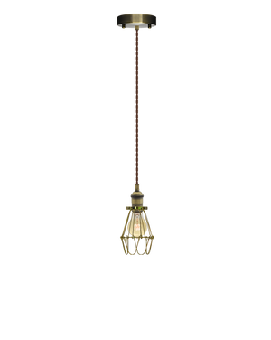 Single Pendant: Brown Twisted and Brass Cage Hangout Lighting Dev
