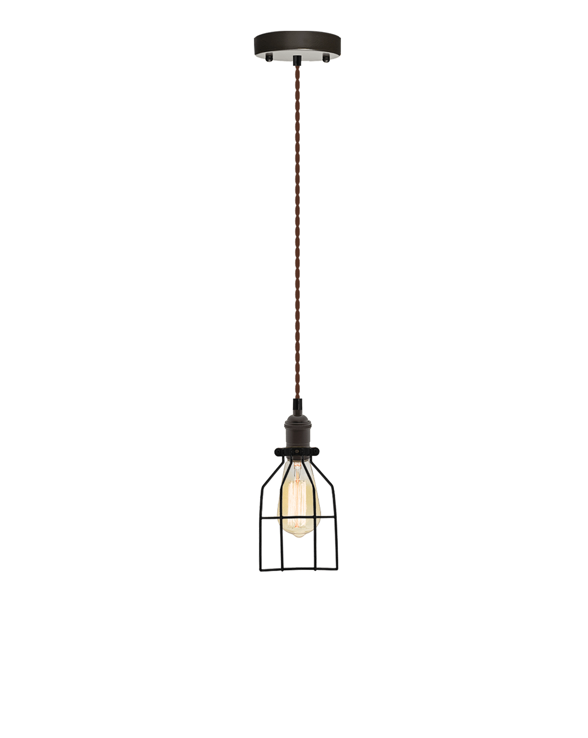 Single Pendant: Brown Twisted and Round Cage Hangout Lighting