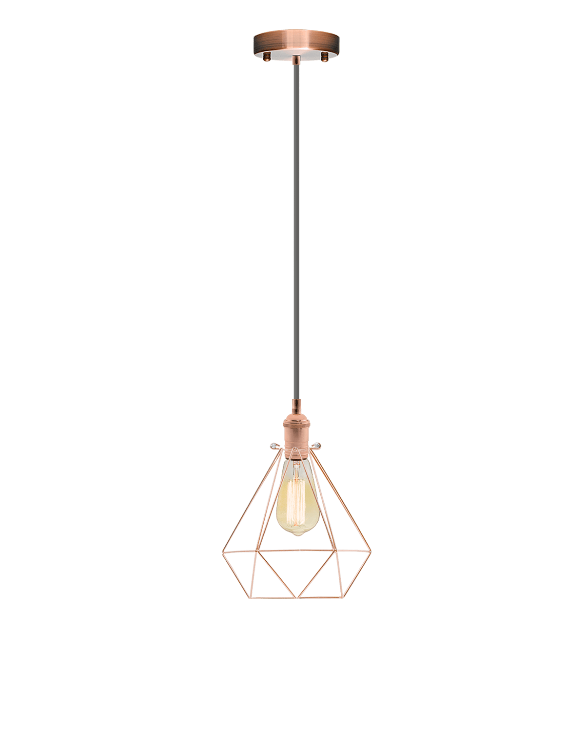 Single Pendant: Grey and Copper Geometric Cage Hangout Lighting