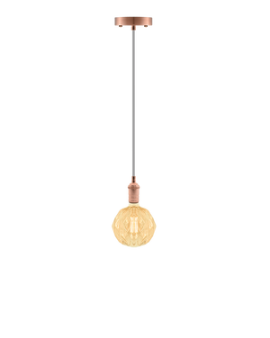 Single Pendant: Grey and Vintage Copper with Geo Globe Hangout Lighting