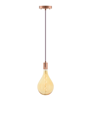 Single Pendant: Mauve and Copper with LED XL Pear Bulb Hangout Lighting
