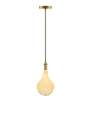 Single Pendant: Olive and Brass with LED XL Uneven Bulb Hangout Lighting