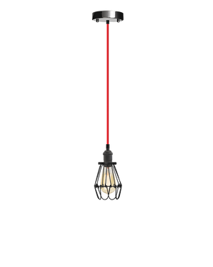 Single Pendant: Red and Black Hinge Cage Hangout Lighting