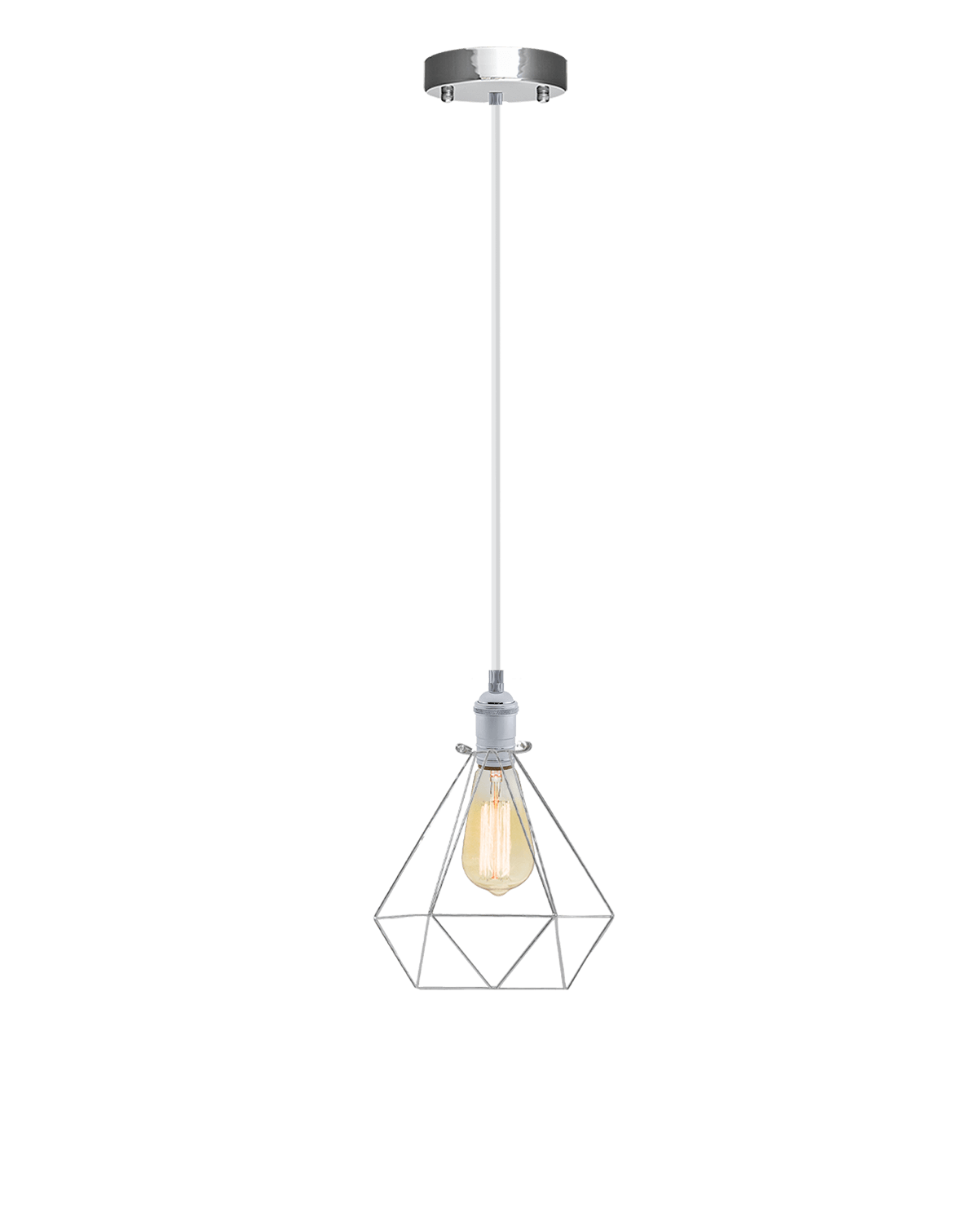 Single Pendant: White and Chrome Diamond Cage Hangout Lighting
