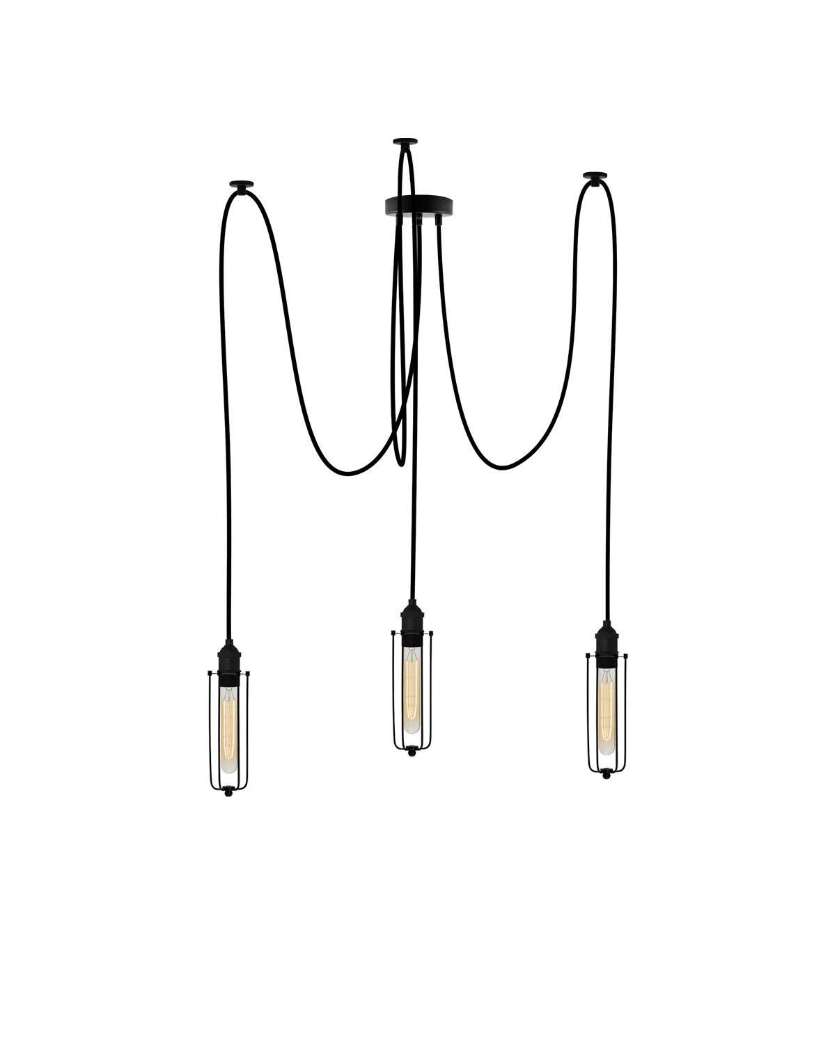 Swag Chandelier: Black and Black Tube Cage Hangout Lighting 3 Swag