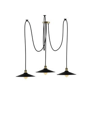 Swag Chandelier: Black and Large Black Flat Shades Hangout Lighting 3 Swag