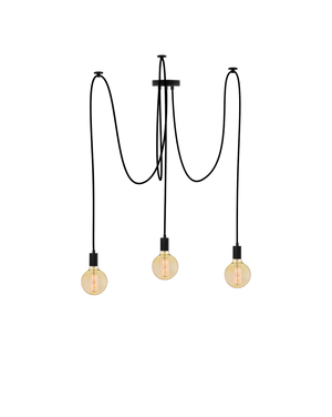 Swag Chandelier: Black with Antique Globes Hangout Lighting 3 Swag