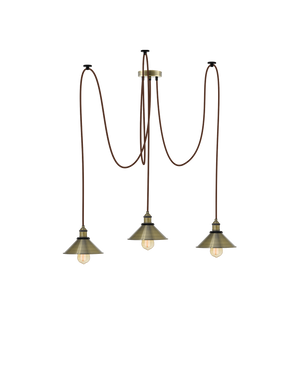Swag Chandelier: Brown and Antique Cone Shades Hangout Lighting 3 Swag
