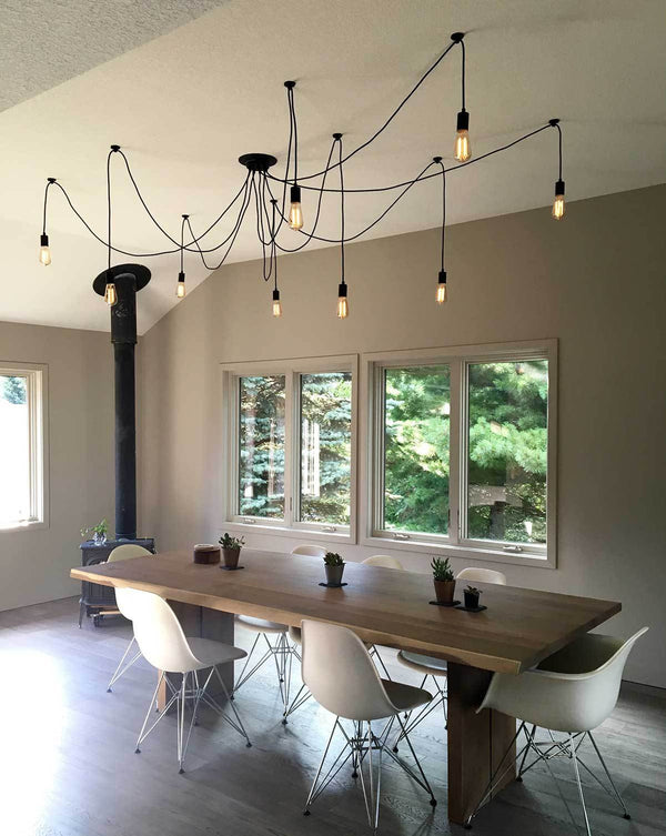 clean black 9 pendant swag chandelier dining room