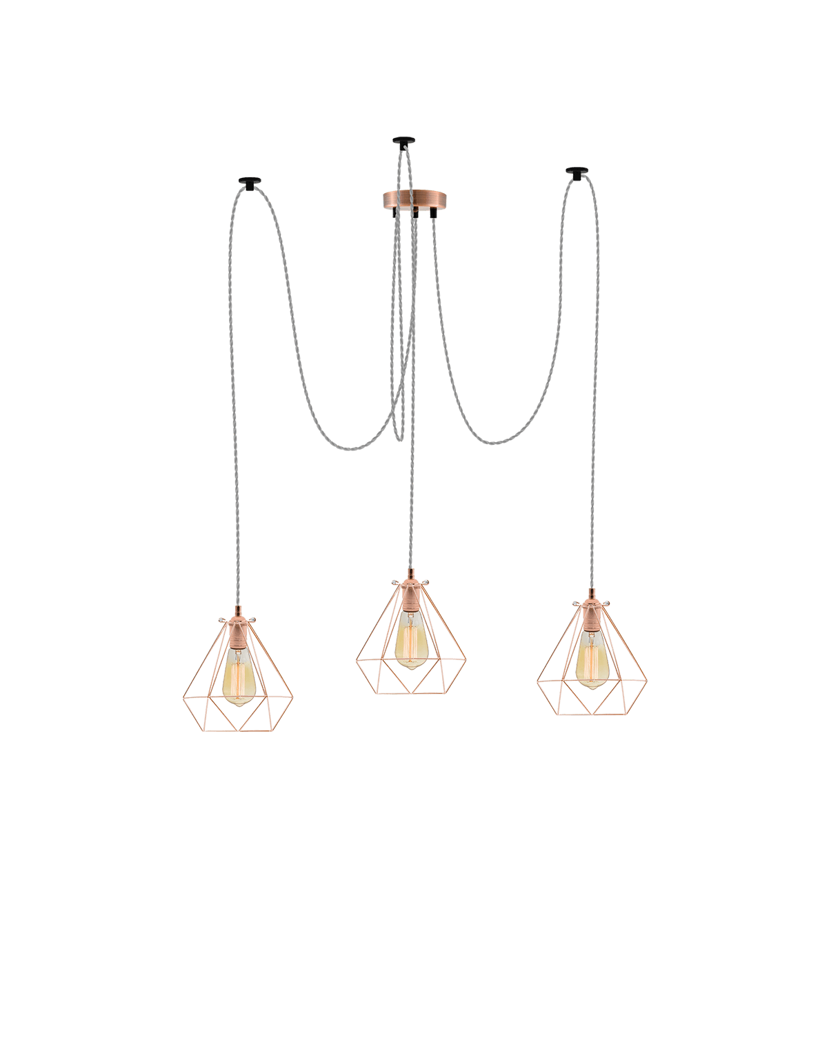 Swag Chandelier: Grey and Copper Diamond Cages Hangout Lighting 3 Swag